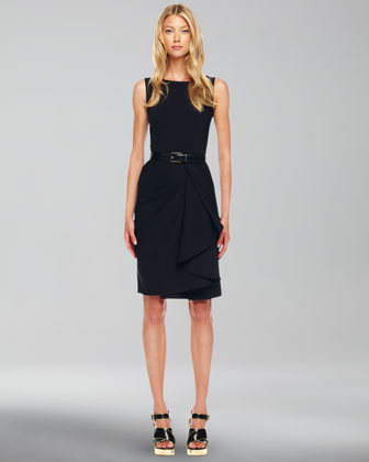 Drape-Skirt Crepe Dress