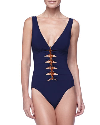 V-Neck One-Piece Swimsuit