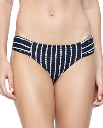 Coastline Striped Ruched Swim Bottom
