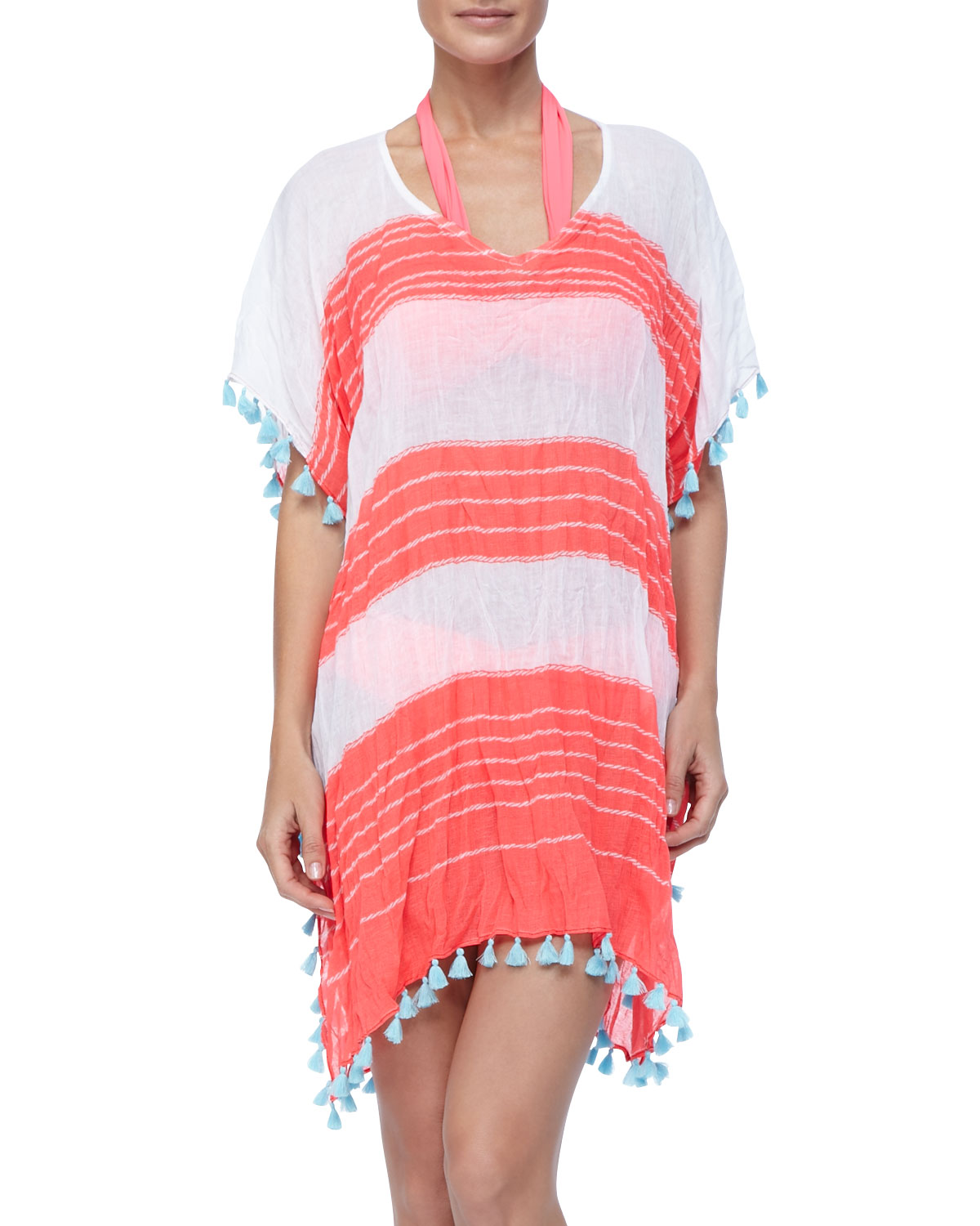 Seafolly Coastline Kaftan, Red / White