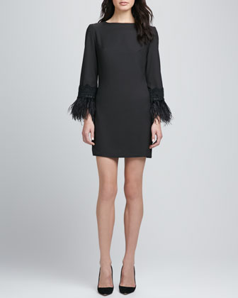 Portia Feather-Cuff Dress