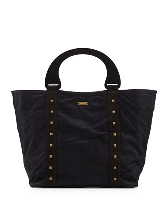 Stud-Trim Beach Bag