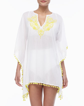 Embroidered Pom-Trim Coverup