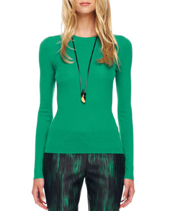 Featherweight Cashmere Sweater, Emerald