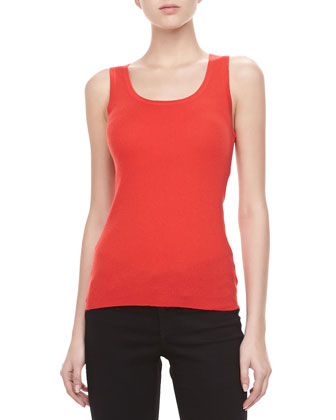 Ribbed Cashmere Tank, Coral