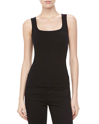 Square-Neck Cashmere Shell, Black