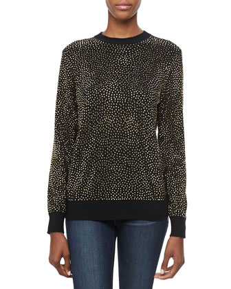 Embellished Long-Sleeve Cashmere Top