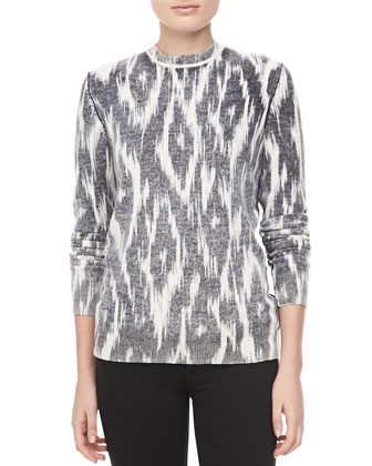 Ikat-Print Cashmere Top, Black/White