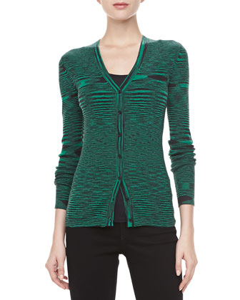 Space Dye Cashmere Cardigan, Emerald