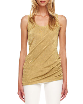 Gathered Mesh Lame Tank