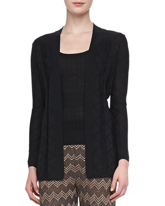 Long Zigzag Knit Cardigan