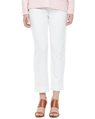 2-Pocket Boxy Top & Ponte Ankle Pants, Petite