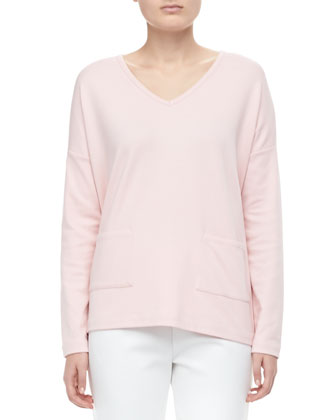 V-Neck 2-Pocket Boxy Top