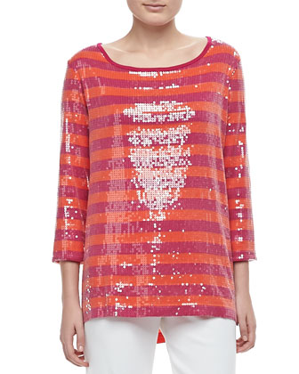 3/4-Sleeve Sequin-Front Striped Tunic, Petite