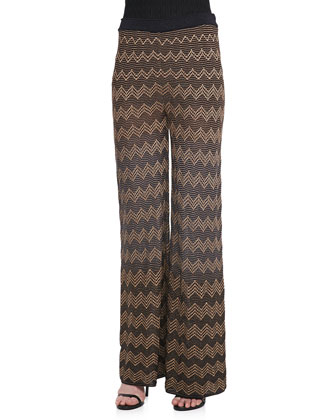 Metallic Zigzag Wide-Leg Pants