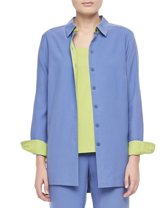 Colorblocked Silk Shirt, Petite