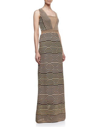Metallic Hexagon-Stripe Maxi Dress