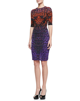 Metallic Lizard Jacquard Half-Sleeve Dress