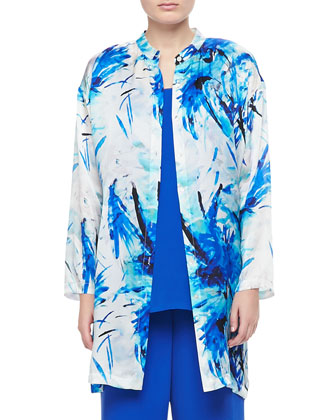 Printed Silk Duster, Women's