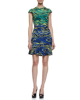 Cap Sleeve Zebra Jacquard Dress, Multicolor