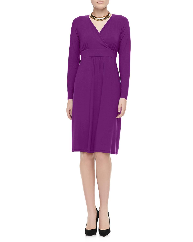 Womens Jersey Knee Length Long Sleeve Dress, Petite   Eileen Fisher   Fig (PP