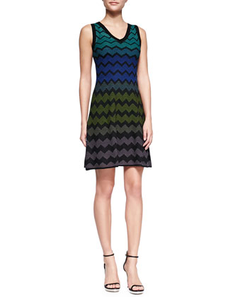 Multicolor Zigzag V-Neck Dress