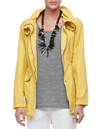 Weather-Resistant Coat, Linen Jersey Striped Tank & Washable Crepe Slim ...