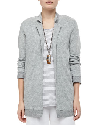 Organic Cozy Striped Long Jacket, Petite