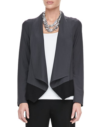 Drape-Front Colorblock Jacket