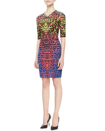 Lizard-Print Jacquard Half-Sleeve Dress