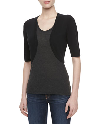 Featherweight Cashmere Shrug, Black