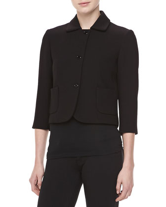 Boucle Three-Button Cropped Jacket, Black