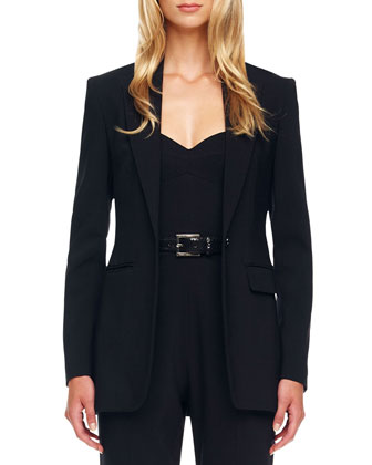 One-Button Crepe Jacket
