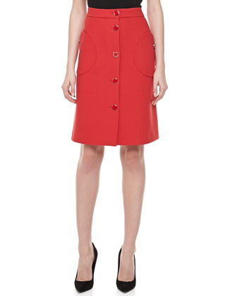 Duvatine A-line Skirt, Crimson