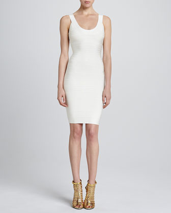 Basic Scoop-Neck Bandage Dress, Papyrus
