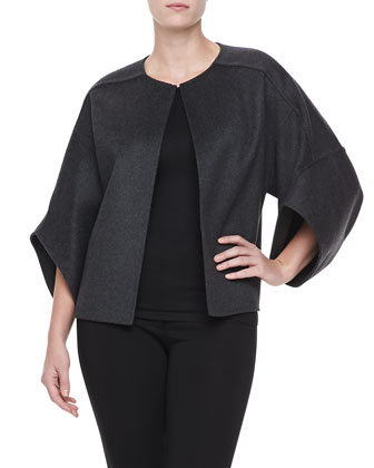 Wool Cape-Sleeve Melton Coat
