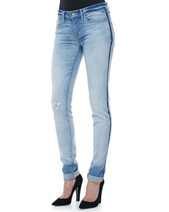 Cloud-Pattern Cuffed Jeans