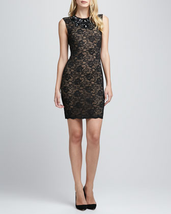 Jeweled-Neck Lace Dress
