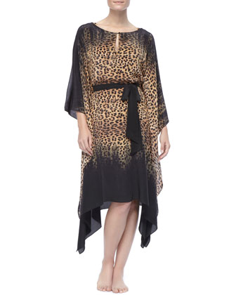Leopard-Print Knee-Length Caftan