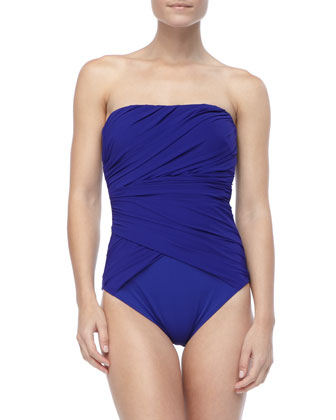 Gathered Bandeau One-Piece Swimsuit