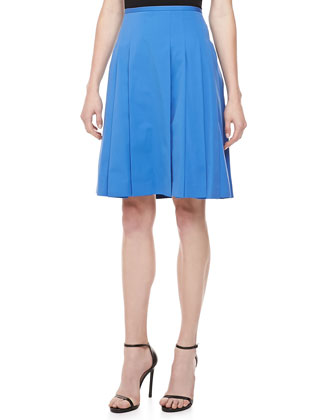 Poplin Pleated Skirt, Sea