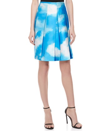 Cloud-Print Pleated Shantung Skirt