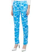 Samantha Pool-Print Duchesse Skinny Pants