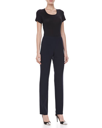 Double-Faced Slim Pants, Midnight