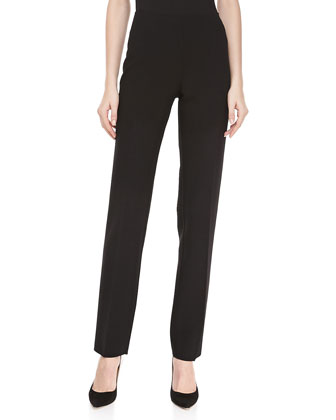Double-Faced Slim Pants, Black