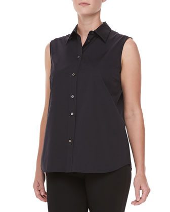 Sleeveless Poplin Top, Black