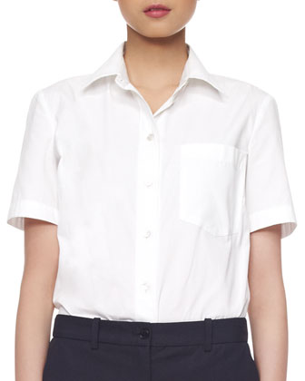 Poplin Cotton Short-Sleeve Blouse