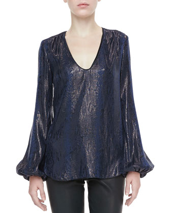 Metallic Snake-Print Blouse