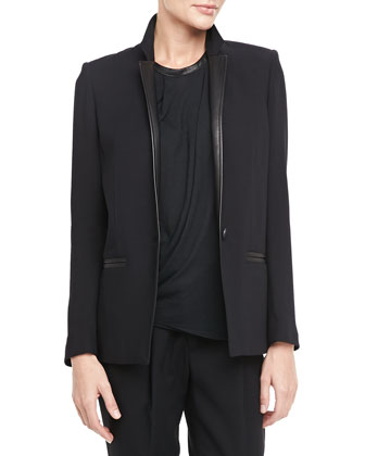 Noa Leather-Trim Blazer, Black