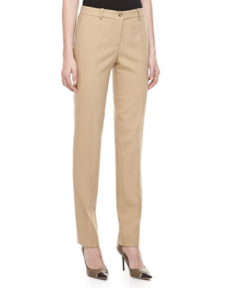 Samantha Wool-Stretch Skinny Pants, Fawn